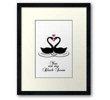 Black Swan Lovers Framed Print