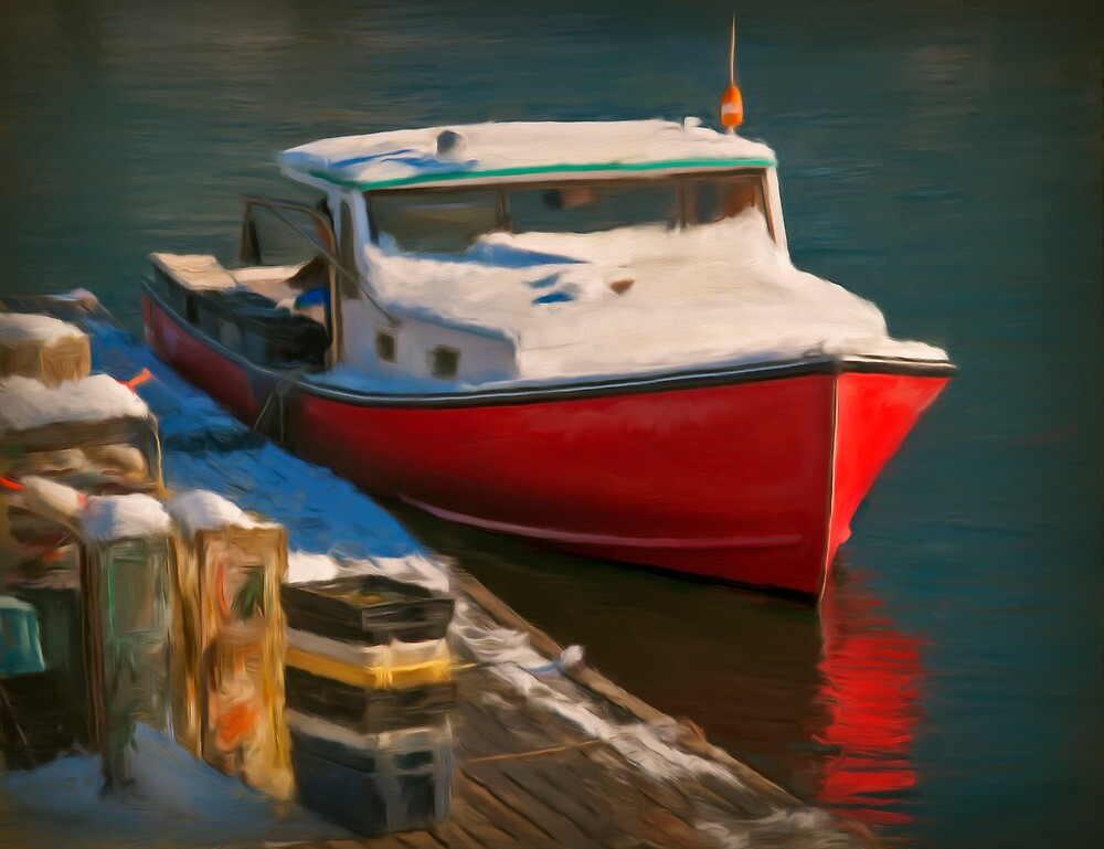 Red boat by Dave  Higgins