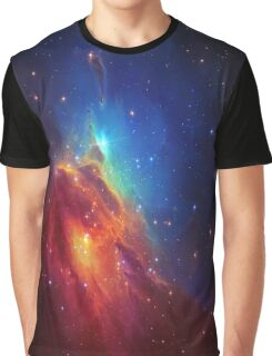 Star Nebula Space - Deep Blue Graphic T-Shirt