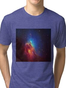 Star Nebula Space - Deep Blue Tri-blend T-Shirt
