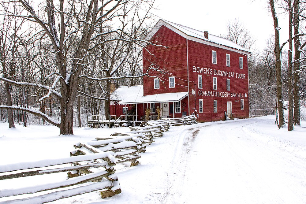 Red Mill in Winter by Randall Nyhof