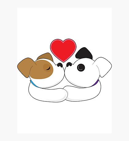 Puppies Kissing Photographic Print