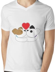 Puppies Kissing Mens V-Neck T-Shirt