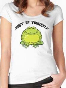 """Funny Frog """"Just Be Yourself"""" Women's Fitted Scoop T-Shirt"""