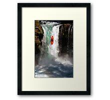 Extreme Waterfall Kayaking Framed Print