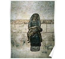 Pieta on wall of  ruined Hambaye Abbey Church 1124 19840219 0044  Poster