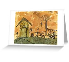 A Farm in India With Hut and Bull Cart Created with Tea Greeting Card