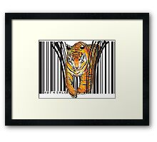 ENDANGERED TIGER BARCODE illustration print Framed Print