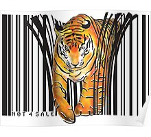 ENDANGERED TIGER BARCODE illustration print Poster