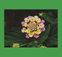 Fresh Lantana Flower Against Leaf Background Kids Clothes
