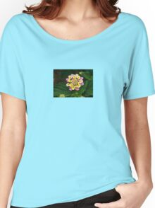 Fresh Lantana Flower Against Leaf Background Women's Relaxed Fit T-Shirt