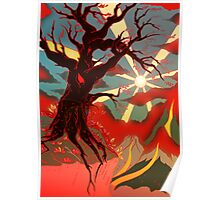 Stylistic Tree on Cliff edge Poster
