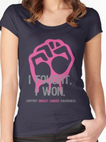 Fought & Beat Breast Cancer Awareness Women's Fitted Scoop T-Shirt