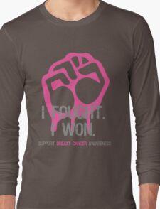 Fought & Beat Breast Cancer Awareness Long Sleeve T-Shirt