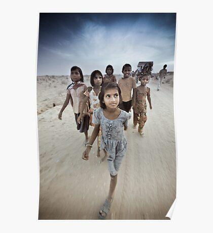 Children of the Thar Dessert, Rajasthan India Poster