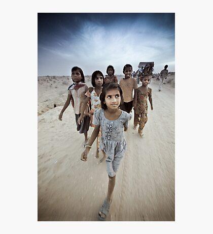 Children of the Thar Dessert, Rajasthan India Photographic Print