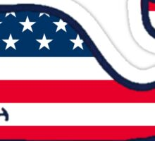 American Flag Whale Sticker