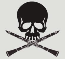 Skull with Clarinet Crossbones by shakeoutfitters