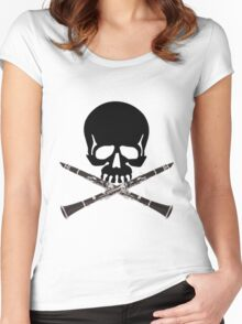 Skull with Clarinet Crossbones Women's Fitted Scoop T-Shirt