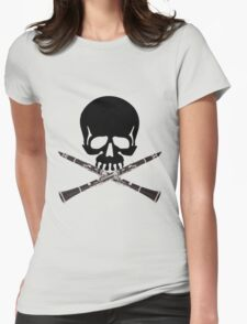 Skull with Clarinet Crossbones Womens Fitted T-Shirt