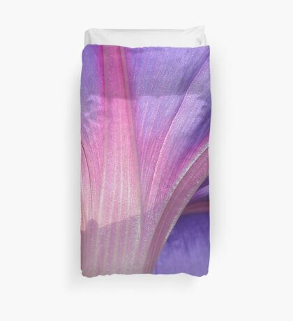 Macro of a Pale Lilac and Pink Morning Glory Duvet Cover