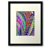 Neon Feather Fractal Framed Print