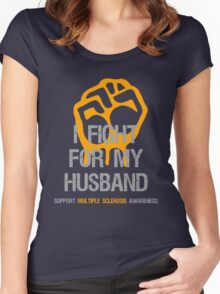 I Fight Multiple Sclerosis MS Awareness - Husband Women's Fitted Scoop T-Shirt