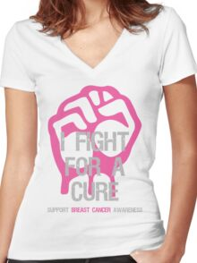 Breast Cancer Awareness I Fight For Cure Women's Fitted V-Neck T-Shirt