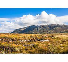 View over the moss of Mointeach Mhor to Sgurr an t Sasunnnaich Photographic Print