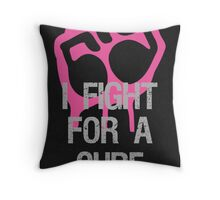 Breast Cancer Awareness Fight For Cure Throw Pillow