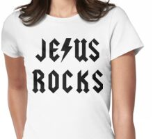 "Christian ""Jesus Rocks"" Womens Fitted T-Shirt"