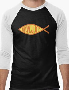 "Christian ""WWJD?"" Men's Baseball ¾ T-Shirt"