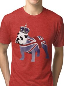 English Bulldog and Crown Tri-blend T-Shirt
