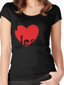 """Christian """"I Love Jesus"""" Women's Fitted Scoop T-Shirt"""