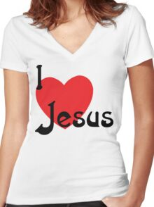 """Christian """"I Love Jesus"""" Women's Fitted V-Neck T-Shirt"""