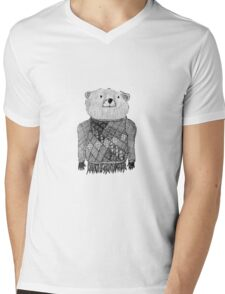 Bear Illustration  Mens V-Neck T-Shirt
