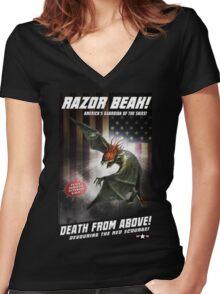 RAZOR BEAK SUPREME! Women's Fitted V-Neck T-Shirt