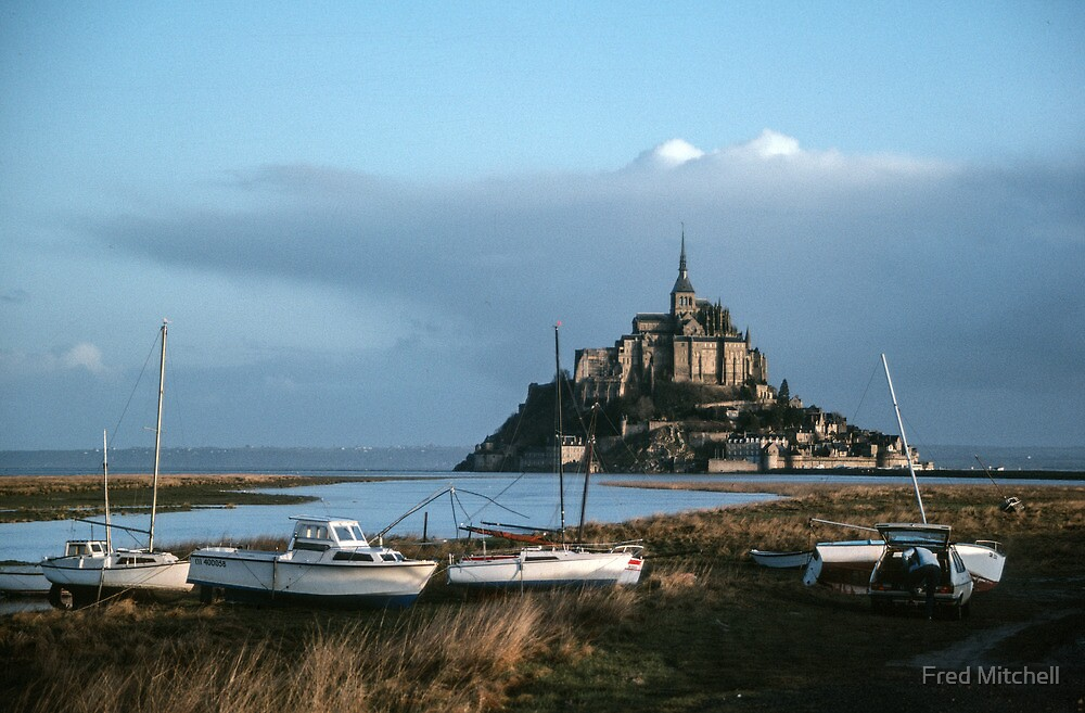 Mont St Michel from beside the roadway 19840220 0004 by Fred Mitchell
