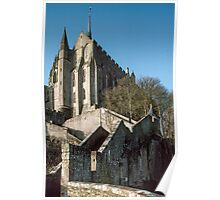 Approach to church from town area Mont st Michel 19840220 0012  Poster