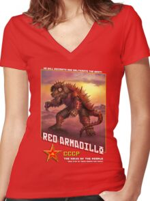 RED ARMADILLO! Women's Fitted V-Neck T-Shirt