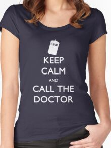 Keep Calm and Call the Doctor (TARDIS) Women's Fitted Scoop T-Shirt