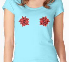 red gift bows Women's Fitted Scoop T-Shirt