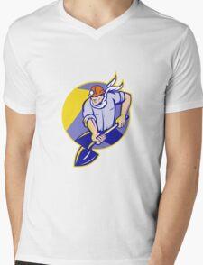 Coal Miner Hardhat Digging Shovel Retro Mens V-Neck T-Shirt