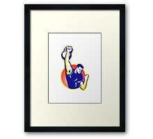 Strongman Lifting Kettlebell Weight Retro Framed Print