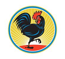 Rooster Cockerel Marching Side Retro by retrovectors