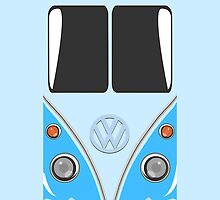 VW Minibus Camper Volkswagen Blue Mini Van iPhone Case by metroemporium