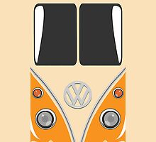 VW Minibus Camper Volkswagen Orange Mini Van iPhone Case by metroemporium
