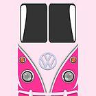 VW Minibus Camper Volkswagen Pink Mini Van iPhone Case by metroemporium