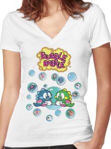 Bubble Bobble Women's Fitted V-Neck T-Shirt