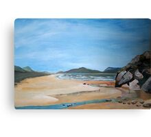 Sandy Beach and Rock Pool Canvas Print